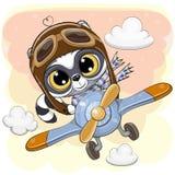 El mapache lindo está volando en un avión stock de ilustración