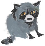 El mapache pintado a mano de la goma del aceite libre illustration