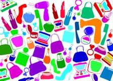 El maquillaje femenino de la moda del vector calza bolsos Fotografía de archivo libre de regalías