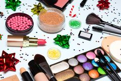 El maquillaje que relucir de la fiesta de Navidad, Año Nuevo chispeante compone imágenes de archivo libres de regalías