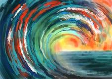 El mar abstracto agita la pintura colorida del fondo Foto de archivo