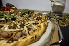 El mar da fruto pizza libre del gluten Foto de archivo libre de regalías