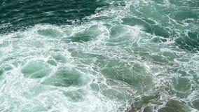 El mar de la aguamarina agita la ebullición y la espuma del motor de trabajo de la nave, gaviotas vuela sobre el mar metrajes