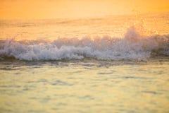el mar de la resaca blured la onda en el fondo ligero de oro de la playa de la puesta del sol Fotos de archivo libres de regalías