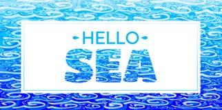 El mar de las palabras 'hola ' Inscripción azul en el fondo blanco stock de ilustración