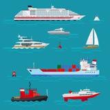 El mar envía iconos planos ilustración del vector