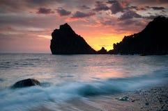 El Mar Negro en la puesta del sol Fotos de archivo libres de regalías