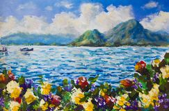 El mar y el cielo azules de pintura, nubes mullidas blancas, barco en el océano, montañas, agita Un prado de la flor de flores ro ilustración del vector