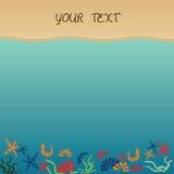 El mar y la arena como fondo para el verano diseñan Ilustración del vector Vacaciones de verano Fotos de archivo