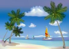 El mar, yates, palmeras. stock de ilustración