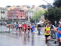 El maratón de Roma, marzo de 2014, el 3ro kilómetro Imagen de archivo libre de regalías