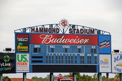 El marcador en Hammond Stadium fotos de archivo
