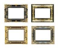 El marco antiguo del oro en blanco Fotos de archivo
