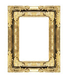 El marco antiguo del oro en el blanco Foto de archivo