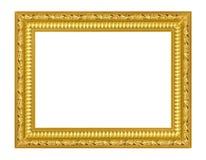El marco antiguo del oro en el blanco Fotografía de archivo libre de regalías
