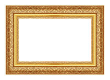 El marco antiguo del oro en el blanco Foto de archivo libre de regalías