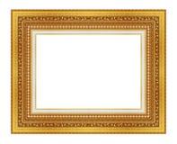 El marco antiguo del oro en el blanco Fotos de archivo