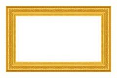 El marco antiguo del oro en el blanco Imagen de archivo libre de regalías