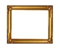 El marco antiguo del oro en el fondo blanco Imagen de archivo