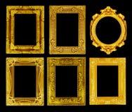 El marco antiguo del oro en el negro Fotografía de archivo libre de regalías