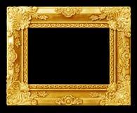 El marco antiguo del oro en el negro Fotos de archivo
