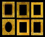 El marco antiguo del oro en el negro Imagen de archivo