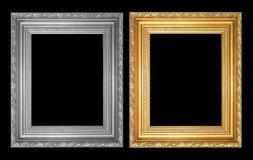 El marco antiguo del oro y marco gris Fotografía de archivo libre de regalías