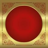 El marco antiguo dorado en contexto degradó rojo ilustración del vector