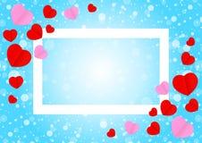 El marco blanco vac?o y la forma rosada roja del coraz?n para el fondo de la tarjeta de las tarjetas del d?a de San Valent?n de l ilustración del vector