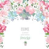 El marco con los succulents, protea de la guirnalda del semicírculo, subió, peonía, orquídea, echeveria, hortensia, plantas verde libre illustration