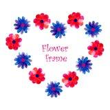 El marco de la flor de la acuarela Imagenes de archivo