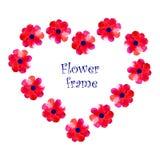El marco de la flor de la acuarela Imágenes de archivo libres de regalías