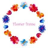 El marco de la flor de la acuarela Fotos de archivo