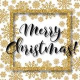 El marco de la Navidad con los copos de nieve del oro y la Feliz Año Nuevo del Feliz Navidad y mandan un SMS Imagenes de archivo