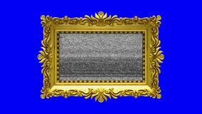 El marco de lujo del oro gira en el fondo azul, llave de la croma Introducción con el ruido y la pantalla verde, de la TV animaci ilustración del vector