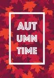 El marco de texto del cartel de Autumn Time sale del fondo Fotografía de archivo libre de regalías