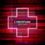 El marco del Cyberpunk de la interferencia con error de la tecnología y el neón forman stock de ilustración