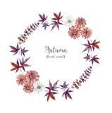 El marco del herbario de la acuarela con las flores y el bosque hojean fotos de archivo