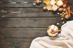 El marco del otoño hecho de caída secada se va, taza de cacao con los marshmellows, nueces, canela, tela escocesa, manzanas Opini imagenes de archivo