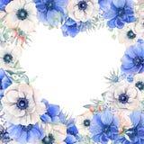 El marco elegante del corazón del día de tarjetas del día de San Valentín de la acuarela florece Fotografía de archivo libre de regalías