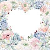 El marco elegante del corazón del día de tarjetas del día de San Valentín de la acuarela florece Foto de archivo libre de regalías
