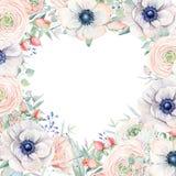 El marco elegante del corazón del día de tarjetas del día de San Valentín de la acuarela florece Fotografía de archivo