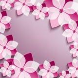 El marco festivo floral con 3d rosado florece Sakura Imagen de archivo libre de regalías