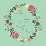 El marco floral con las letras 'sea mi tarjeta del día de San Valentín ', ejemplo del vector libre illustration