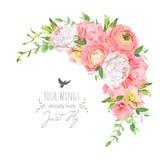 El marco floral delicado del vector con el ranúnculo brillante, peonía, subió, el clavel, plantas verdes en blanco libre illustration