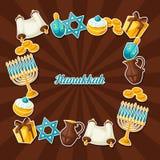 El marco judío de la celebración de Jánuca con la etiqueta engomada del día de fiesta se opone ilustración del vector