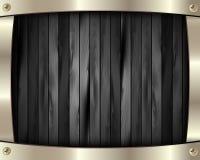 El marco metálico en un fondo de madera oscuro 10 stock de ilustración