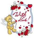 El marco oval con las rosas rojas, oso de peluche, parece un cupido Foto de archivo