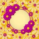 El marco redondo brillante hermoso con el papel rosado y púrpura de 3d cortó las flores en fondo amarillo Fotos de archivo libres de regalías