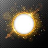 El marco redondo con la luz anaranjada estalló hacia fuera en fondo libre illustration